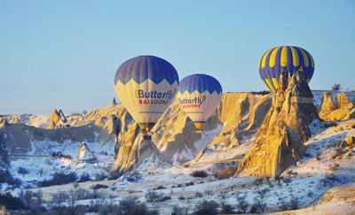 Hot Air Balloon Flight in Winter